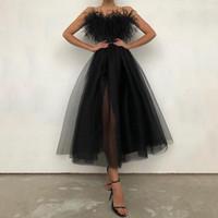 Casual Dresses 2021 Summer Black Long Dress Women Off Shoulder Strapless Feather Detail Sheer Mesh Sleeveless Female Wedding Wear Robes