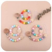 Baby Pacifier Holders Chain Clips Weaning Teething Natural Wooden Silicone Beads Pacifiers Newborn Teeth Practice Toys Infant Feeding Teether 2Pcs Sets B8137
