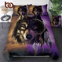 Beddingoutlet 3D Wolf Beddengoed Sets Luxe Dreamcatcher Dekbedovertrek Bergbed Set Queen Size Purple Beddengoed Drop Ship 210727