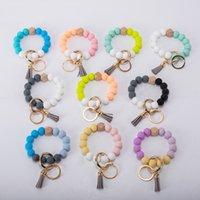 9styles tassels wood bead keychain Silicone Beads Bracelet Leather key ring Food grade silicon Wrist Keychains Pendant Euramerican T2I52003