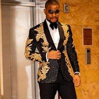 클래식 남성의 황금 아플리케 반짝이 장식 조각 블레이저 망 슈트 웨딩 신랑에 대 한 턱시도 맞춤형 2 조각 재킷 + 블랙 바지 정장 Blaz
