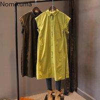 Nomikuma Summer Sleeveless Blouse Dresses Causal Single Breasted Turn-down Collar Vestidos Solid Korean Woman Dress 6H280 210427