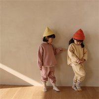 INS Autumn Korean Girls Long Sleeve Clothing Sets for Children Sports Boys Round Neck Pure Color Cotton Casual 3309 Q2
