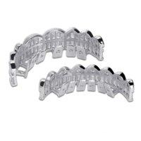 2020 Nuova Baguette Set Denti Grillz Grillz Top Bottom Silver Color Griglie Griglie Dentale bocca Hip Hop Style Monili di moda Gioielli Rapper Gioielli