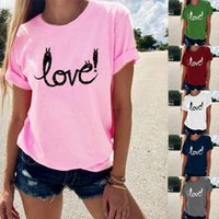 Women's T-Shirt Fashion Ladies Summer Cartoon Letter LOVE Pattern Female Print Solid Color Round Neck Short Sleeve Clothing