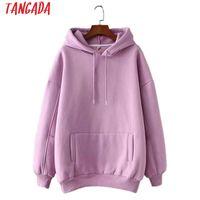 Tangada 여성 Fleece Hoodie Sweatshirts 겨울 일본 패션 2021 대형 숙녀 풀오버 따뜻한 포켓 후드 자켓 SD60 여성 까마귀