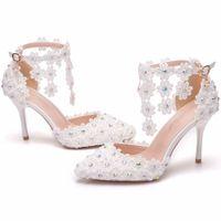 Sandals Transparent ankle tennis shoes, women's wedding high heels with white rhinestones. JI8R