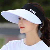 1 ADET Yaz Kadın Güneş Şapka Paketlenebilir Visor Toptan Büyük Kafaları Ile Toptan Boş Üst Geniş Brim Plaj Şapka UV Koruma Kadın Kap