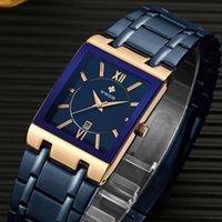 Armbanduhren WWOOR 2021 Mode Blue Herrenuhren Top Quadratischer Quarz Wasserdicht Freizeitgeschäft Watch Männer Relogio Masculino