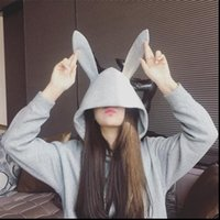 Korean style Sweet Rabbit Women Hoodies Ears Hooded Solid Color Loose Long Sleeve Tracksuits Pullovers Clothing