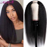 بوصة يو جزء شعر مستعار ياكي مستقيم الشعر البشري البرازيلي ريمي غلويليس غريب الباروكات للنساء السود 1