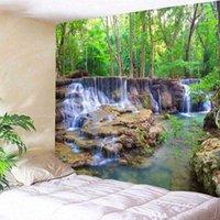 벽 태피스 트리 아름 다운 숲 매달려 폭포 HD 풍경 비치 타월 자연 천막 벽화 폴리 에스터 카펫 T200628