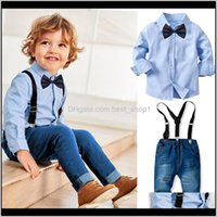 Sets Clothing Baby, Kids & Maternity Infant Baby Born Boy Long-Sleeved Collar Shirt Denim Straps Trousers Set Childrens Banquet Formal Weddi