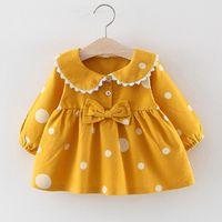 Малыши дети девочка девочка детская одежда осень зима длинные вспышки рукава в горошек Prapit Print Princess платья девушки наряды LJ200923 170 Z2