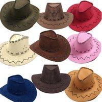 2021 Western Cowboy Hats Men Women Kids Brim Caps Retro Sun Visor Knight Hat Cowgirl Brim Hats C3