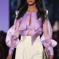 Women's Blouses & Shirts Purple Women Sexy Blouse Long Sleeve Tops Designer Female Ladies Party Club Elegant Chic 2021 Fashion Casual