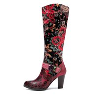 Export Cross-Border Autumn and Winter Retro Style Womens Boots Three-Dimensional Flower Warm Womens Mid-Heel Knee-High Zipper Boots
