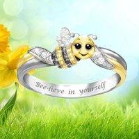 Bee-Lieve em si mesmo anéis de abelha para meninas mulheres desenhos animados strass charme inspirational aniversário dia de natal cluster de jóias