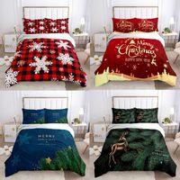 Bedding Sets Santa Snowman Bed Cover Set Duvet Pillow Case Cartoon Fashion Design Christmas Decoration Gift