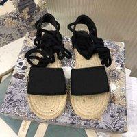 Estate Donne Piattaforma Piattaforma Sandali Casual Slift Slippers Fashion Ladies Alfabeto Pescatore Scarpe in pelle Cuoio Scarpa Scarpa Canapa Corda Erba Lace Up Sandalo intrecciato con scatola