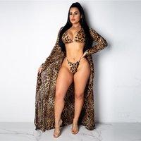 Bikini 3 unids verano traje de baño mujeres leopardo impresión playa desgaste alto corte thong conjunto traje de baño cubrir candigan traje de baño sarongs