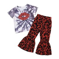 Kids Clothing Sets Girls Outfits Baby Clothes Children Suits Summer Cotton Short-Sleeved Leopard Print T-shirts Flared Trousers Pants 2Pcs B7075