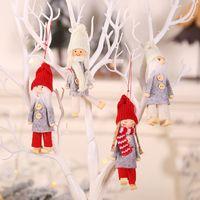 Mini Christmas Plush Dolls Tree Pendant Figurine Party Favor Xmas Santa Claus Decorations Skiing Wooden Toy Doll Hotel Decoration WY1508