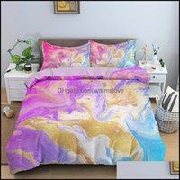 Roupa de cama Têxteis Gardedding Sets Mármore Duvet er Set Rainbow Luxo Colorf Resumo Arte Quilt Cama Queen Teens Home Têxtil Dro