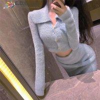 EDGLULU Femmes Vêtements de pull d'hiver Ensemble de jupes à manches longues à manches longues à manches longues et à la taille haute jupe à la taille Two Set 1128 TRU femmes