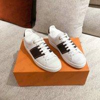 Klassische FrontTrow Womens Sneaker Designer White Leder Shoe Patent Monogramme beschichtete Leinwand Braune Blume Gummi Herren Runner Trainer Plattform Freizeitschuhe