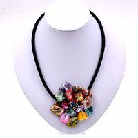 18 '' Concha multicolora hecha a mano Pearl Pearl Crystal Flower Collar 11 Color U Pick Chokers