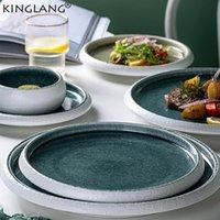 Platos Placas Kinglang Diseño Original Hielo Hielo Split Split SplAZE Cerámica Placa de Alojamiento Japonés Sushi Sashimi Bowl Ensalada