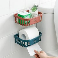 Creative Punch-Free Toilet Paper Holders Bathroom Kitchen Tissue Box Wall-Mounted Sticky Papers Storage Boxes