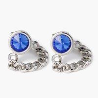 صفعة مجوهرات الرجال أزرار أكمام سلسلة نمط الأزرق كريستال أزرار أكمام السادة قميص الأكمام الأظافر هدية XK18S037