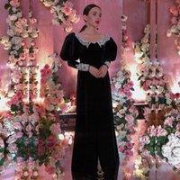 Black Velvet A Line Women Party Formal Evening Dresses Scoop Neck Applique Long Sleeves Prom Gowns Zipper Back Robe De Marrige