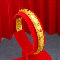 Bangle Hi C 6cm Enamel Wedding Bracelet 24K Yellow Gold Plated Hollow Out Zircon Engagement Bangles For Women Jewelry Bride