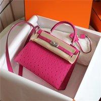2021 حقيبة الإناث متعدد الألوان اختياري يدويا مخيط HES Classic 25cm المستوردة KK Ostrich Leather