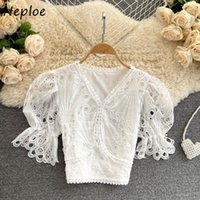 Sexy Hollow Out Design Lace Hook Flower Blouse Women V Neck Flare Shor Sleeve Ol Blusas Spring Shirt Feminino 210430