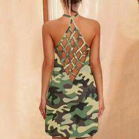 Sexy Cross Backless Tank Dress Camouflage Print Womens Sleeveless Halter Mini Lady Girls Summer Light Dresses 2021 A40 Casual