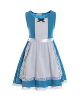 Alice vestido vestido de halloween fantasia festa de festa de aniversário casamento casamento azul criança vestido meninas roupas q0716