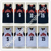 NCAA Vintage 2012 Dream Team Ten Jersey Kevin 5 Durant Kebe 10 Bryamt James 12 Harden Chris 13 Paul Basketball Trikots 8