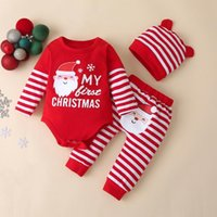 Clothing Sets My First Christmas Born Baby Boy Outfit Santa Claus Romper+Kids Pant+born Beanie Xmas Set Autumn