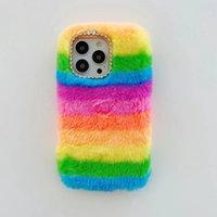 Rainbow Bling Diamond Fluffy Fur Cases For Iphone 13 Pro Max 12 Mini 11 X XS XR 8 7 6 Plus Iphone13 Girl Soft TPU Cute Genuine Rabbit Hair Plush Fuzzy Gel Mobile Phone Cover