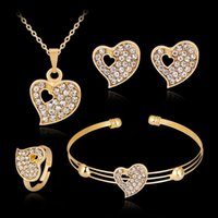 Hollow Heart Shaped Diamond Necklace Earrings Sets Jewelry Crystal Lovely Gold Color Jewelry Sets for Girl Women Party Gift Jewelry