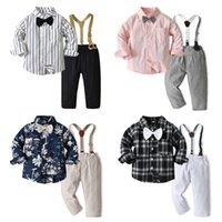 Boys plaid clothing sets kids Bows tie lapel long sleeve stripe shirt+elastic suspender pants 2pcs children floral printed gentleman outfits Q2660