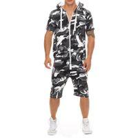 قطعة مصمم قمصان الرياضة مجموعات السراويل عارضة ملابس رجالي الصيف الملتصقة الدعاوى مقنع الأزياء الألواح رياضية واحدة