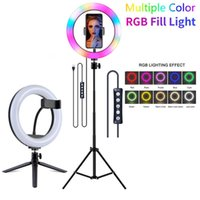 Video Light Dimmable RGB Selfie LED Ring With Tripod Stand USB Lamp Large Pography Rim For TikTok Youtube Flash Heads