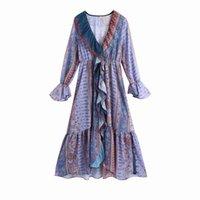Vuwwwyv estate viola stampa chiffon patchwork ruffle donna abiti abiti a manicotto a soffio lungo pieghettato vestito midi donne vestidos 210430