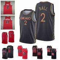 Hommes Lonzo Ball 2 Alex Caruso 4 Jerseys de basketball 2021 Trade Noir Edition City Jersey S-3XL