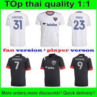Top Thai D.C. United Soccer Jersey Rooney Gressel Pines Arriola Flores Kamara 21 22 DC nero Black White Home Away Camicia da calcio Ventilatore e Palyer versione personalizzata